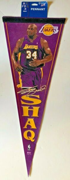 LOS ANGELES LAKERS SHAQUILLE O'NEIL NBA BASKETBALL PLAYER PENNANT FELT NEW MINT