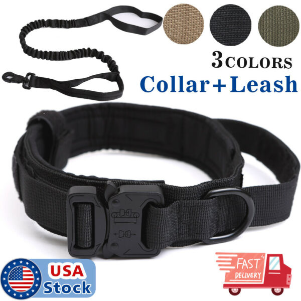 K9 Tactical Dog Collar Heavy Duty Military Dog Collar w Dog Leash Metal Buckle $19.98