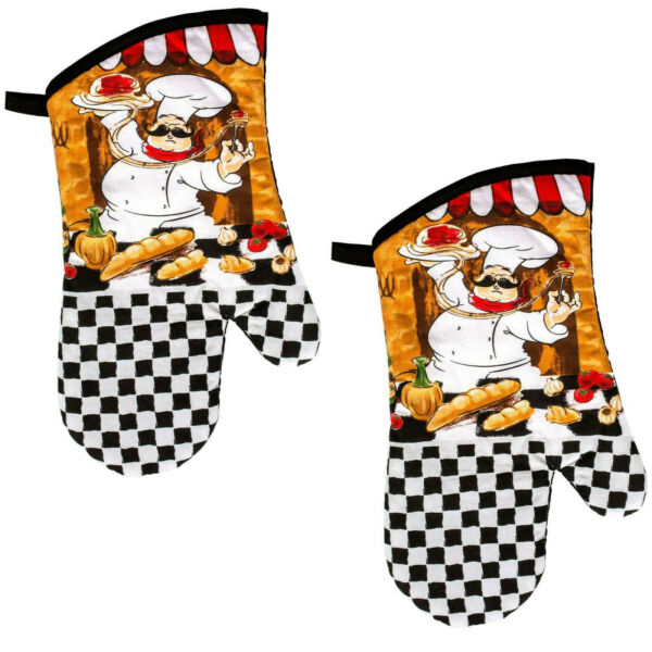 1 PAIR Fabric Printed Kitchen Oven Mitts Mittens Gloves CHEF Black White Check