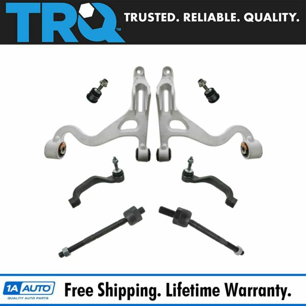 TRQ 8 pc Steering & Suspension Kit Control Arms Ball Joints Tie Rod End Links