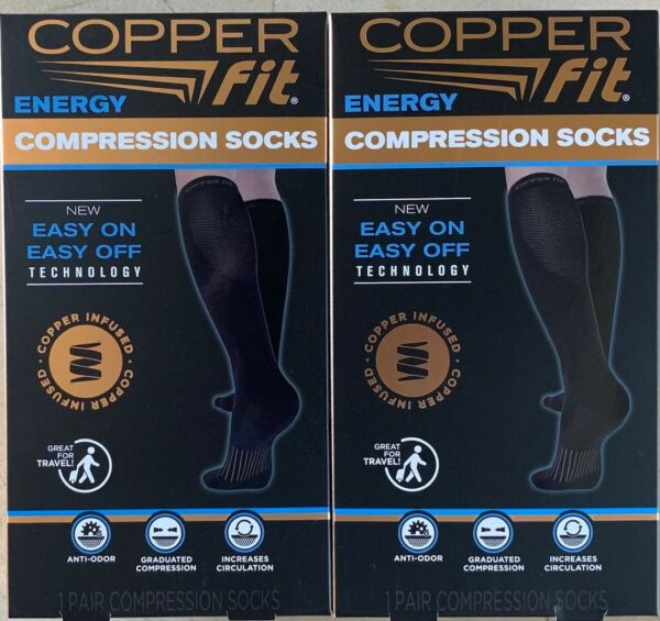 2 Pair Copper Fit Easy On Easy Off Compression Socks