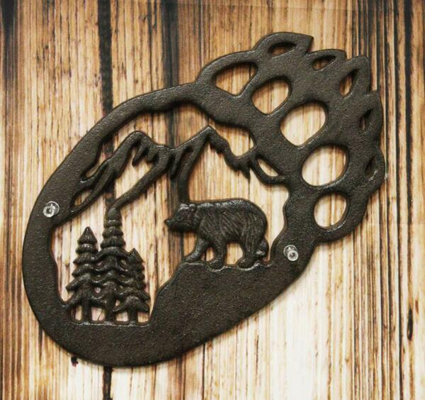 Western Black Bear Paw With Pine Tree Forest And Mountain Cast Iron Wall Decor