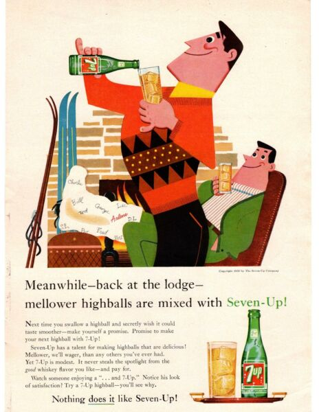 1959 Seven Up Soda Ski Lodge Leg In Cast Fireplace Sweater 7 Up Cartoon Print Ad