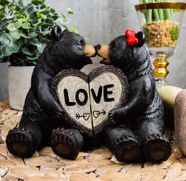 Rustic Black Bear Couple Kissing With LOVE Heart Sign Figurines 2 Piece Part Set