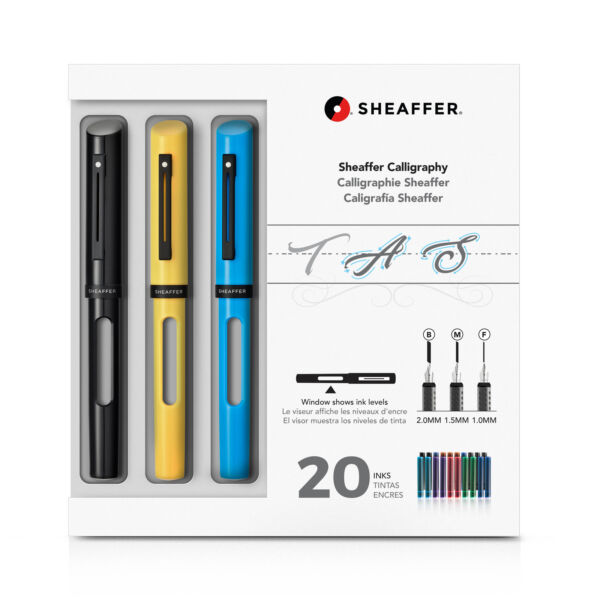 Sheaffer Calligraphy Maxi Kit with Black Yellow and Blue Pens NEW in box