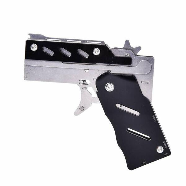 Folding Stainless Steel Rubber Band Gun Semi-Automatic Portable Toy Black