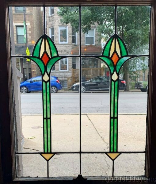 Nice Antique Stained Leaded Glass Windows 36