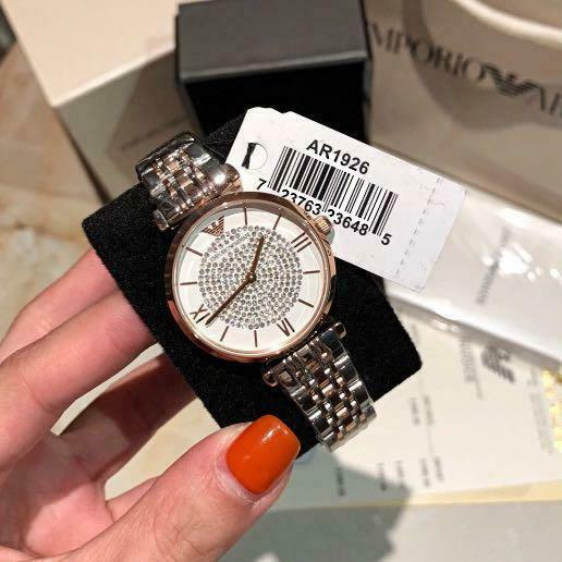 NEW GENUINE EMPORIO ARMANI AR1926 TWO TONE GIANNI T-BAR LADIES WATCH UK RRP £389