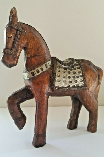 VINTAGE Hand Carved Wooden Horse Statue Figurine With Hammered Brass Metal Inlay