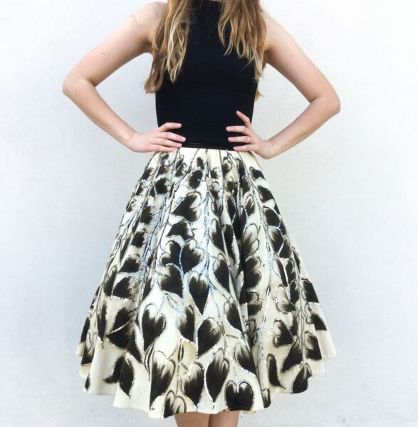 Vintage VTG 50s 1950s Hand Painted Leaf Full Circle Skirt with Sequin Detail