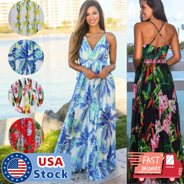 Women Boho Long Maxi Dress Ladies Cocktail Party Evening Summer Beach Sundress $16.98