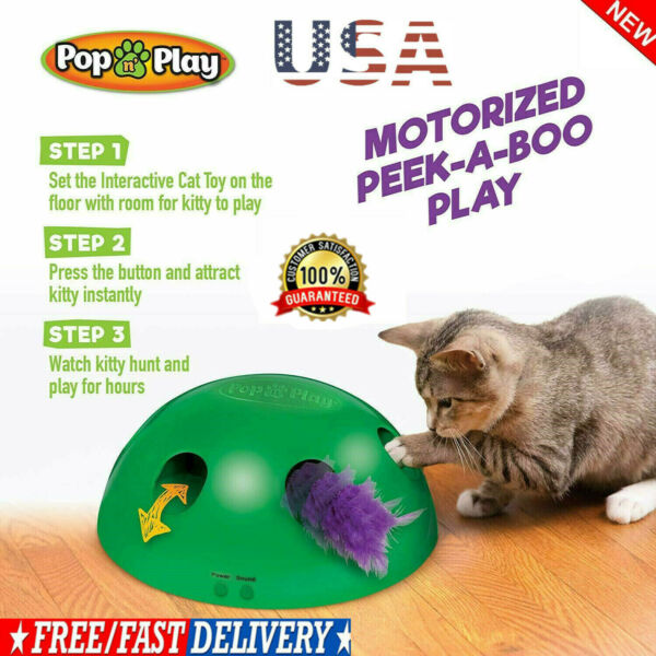 Pop N'Play Interactive Motion Cat Toy Mouse Tease Electronic Pet Toys HOT 2019~
