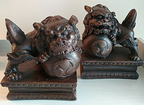 quot;Chinese Foo Lion Dogsquot; Set of 2 Hand Carved Wood Antique Left amp; Right Guardian $297.98