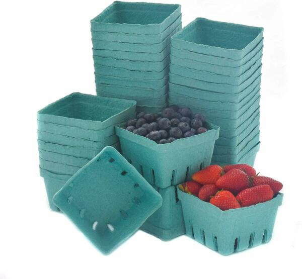 40 Pack Quart Green Molded Pulp Fiber Berry Basket Produce Vented Container