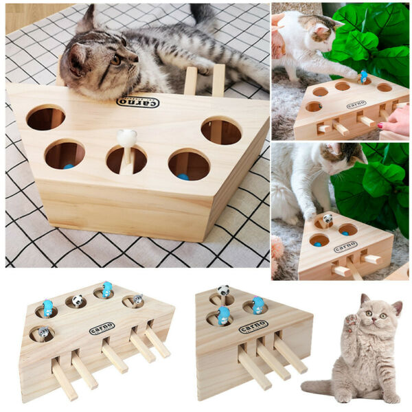 Pet Cat Dog Hunt Toy Indoor Wooden Interactive 35-holed Mouse Seat Scratch Toys