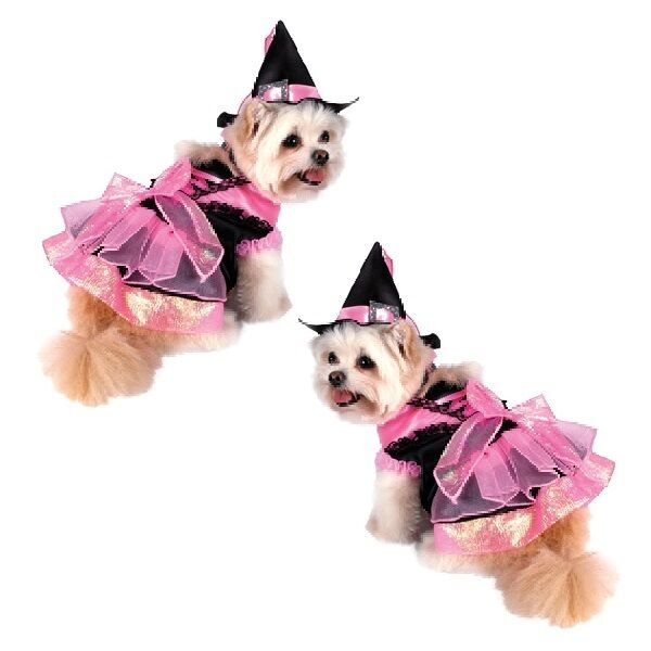 High Quality Dog Costume PINK SHINY WITCH COSTUMES Dogs As Witches Black Satin $46.89