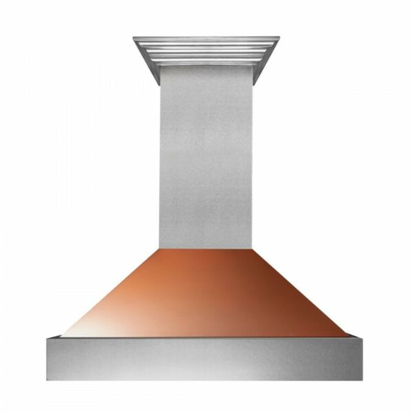 ZLINE 36quot; NEW SNOW STAINLESS STEEL COPPER SHELL WALL RANGE HOOD CROWN 8654C 36