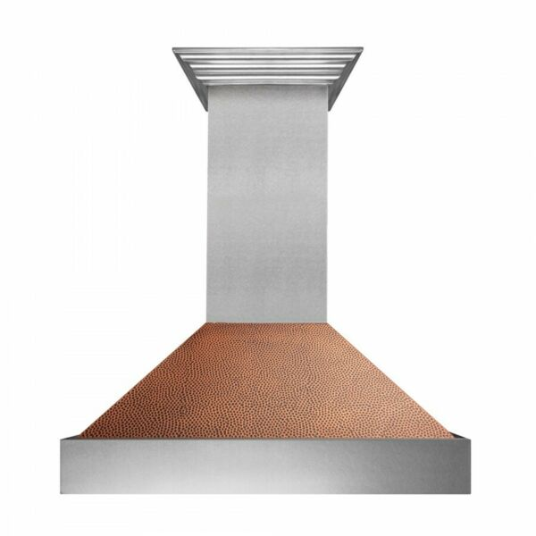 ZLINE 36 NEW SNOW STAINLESS STEEL HAND HAMMERED COPPER WALL RANGE HOOD 8654HH 36
