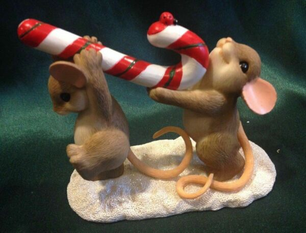 CHARMING TAILS BY DEAN GRIFF- CHRISTMAS FIGURINE - RAISE A LITTLE CANE...