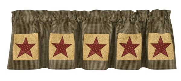 Farmhouse Primitive COUNTRY STAR Lined Patch Valance $28.99