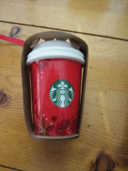 STARBUCKS RED CERAMIC COFFEE MOCHA TO GO CUP 2013 CHRISTMAS HOLIDAY ORNAMENT $13.99
