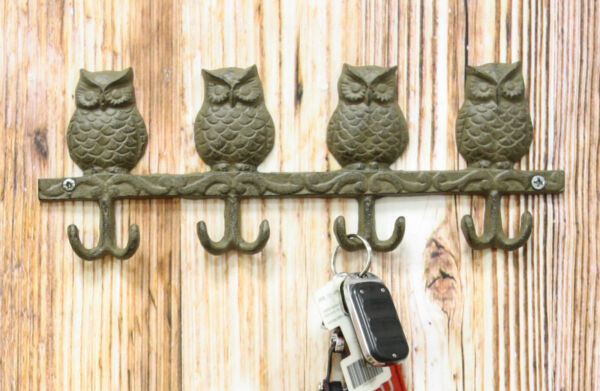 Cast Iron Rustic Anchors Of Wisdom Great Horned Owls Family 8 Pegs Wall Hooks