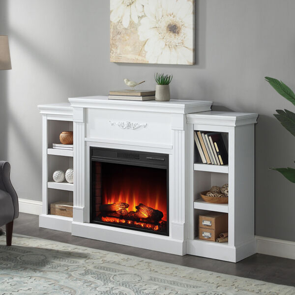 Fireplace TV Stand Wood Storage Media Console Electric Heater for TVS White