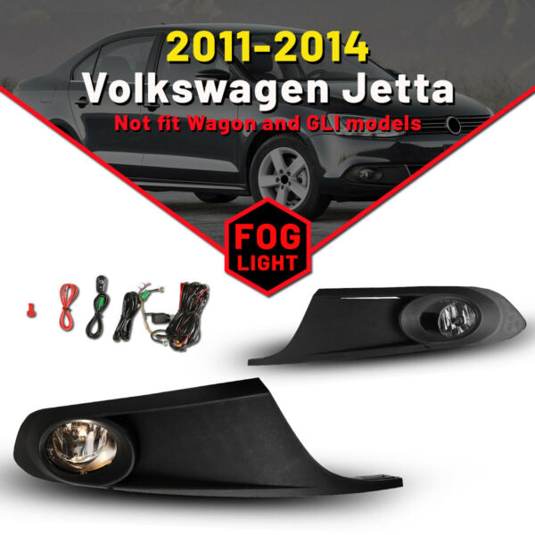 Fog Lights for 2011-2014 Volkswagen Jetta Lamps bumper clear w/ wiring kit Frame