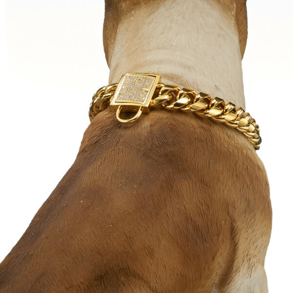 Luxury Dog Collar Personalizedl Stainless Steel 14mm 18K Gold Big Dog Luxury $29.99