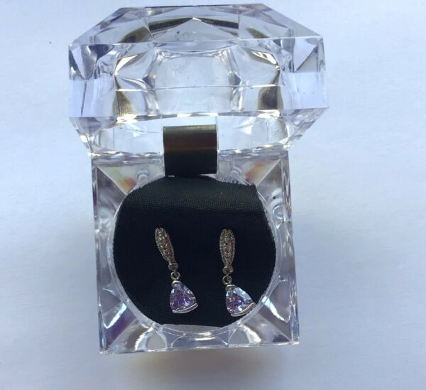 Fashion Earrings- Triangle light purple- crystals- silver color- post back