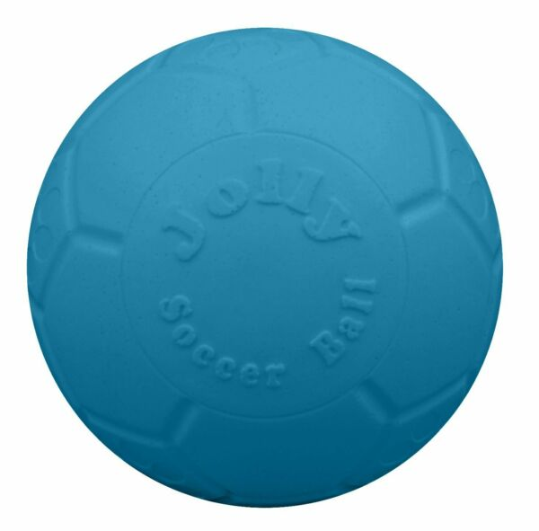 Jolly Pets Soccer Ball Blue 8 inch  Unscented Rubber Chew Toy for Dogs