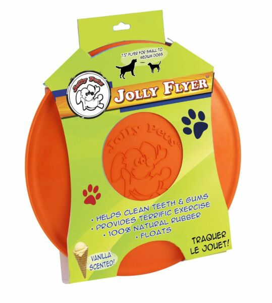 Jolly Pets Flyer Natural Rubber Floating Disc Interactive Dog Toy Orange 9.5inch $12.23