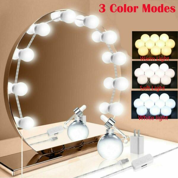 Makeup Mirror Vanity LED Light 10 Bulbs Lamp 3 Color Modes Dimmable Lighted US