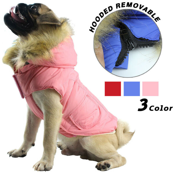 US Pet Small Dog Warm Cotton Hoodie Jacket Coat Puppy Winter Clothes Pet Costume $11.98