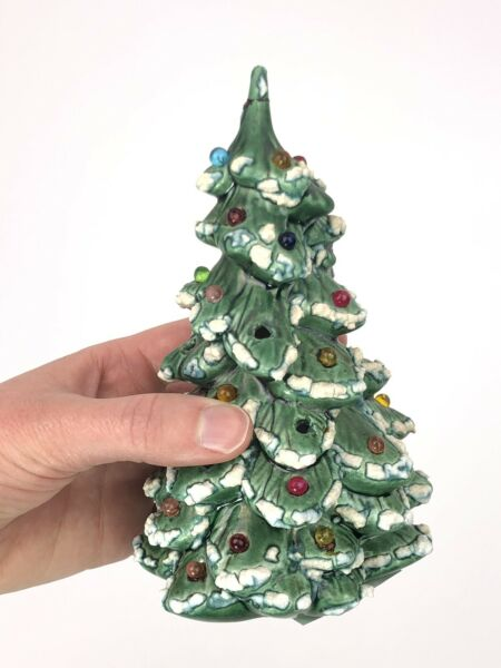 "RARE! Small 6"" Lights Holland Christmas Tree Mold Snow Decor Vintage 70s"