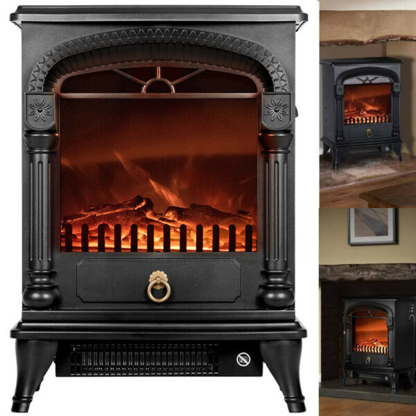 VIVOHOME 1400W Electric Fireplace Space Heater 3D Wood Flame Stove Log Burner US