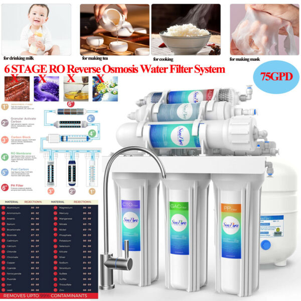6Stage Undersink Reverse Osmosis RO System Drinking Water Filter 75G Alkaline pH