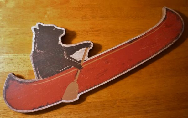 Black Bear Canoeing Red Canoe Rustic Log Cabin Lodge Wood Home Decor Sign NEW