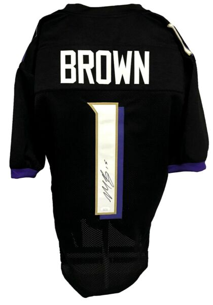 Marquise Brown Autographed Pro Style Black Jersey JSA Authenticated