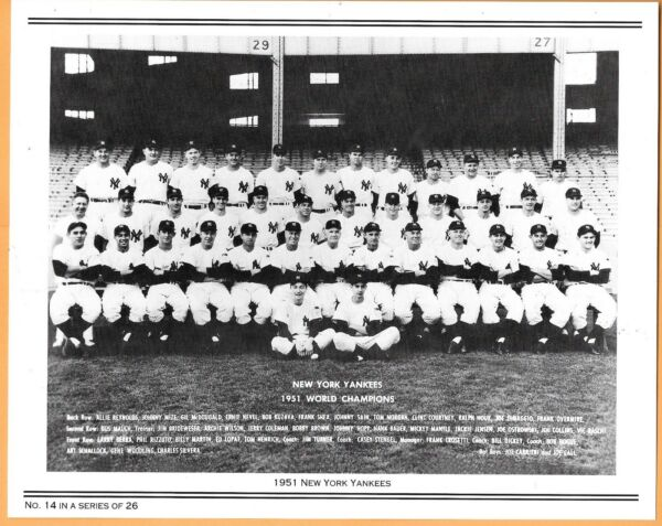 NY Yankees Daily News Reprint Team Photo ~ 2-Sided ~ 1951 Champs ~ Mantle Rookie