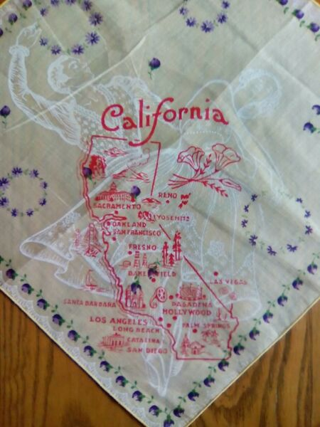 UNUSED VINTAGE COTTON HANDKERCHIEF ~ CALIFORNIA SOUVENIR - MAP & SPANISH DANCERS