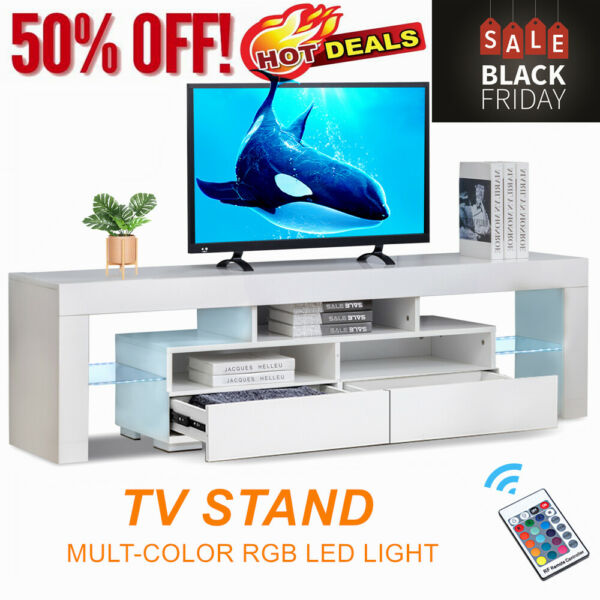 High Gloss 63#x27;#x27; TV Stand Unit Cabinet Console Table RC with Colorful LED Lights $156.03
