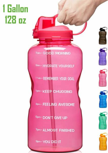 1 Gallon Motivational Water Bottle Straw One Gallon 2 Day FREE Shipping