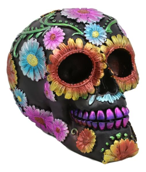 Black Day of The Dead Colorful Spring Floral Blooms Sugar Skull Figurine Decor
