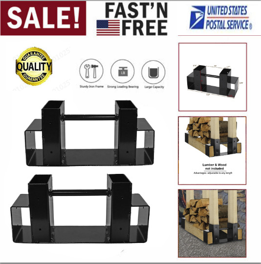2pcs Outdoor Metal Firewood Log Rack Bracket Kit Adjustable To Any Length O