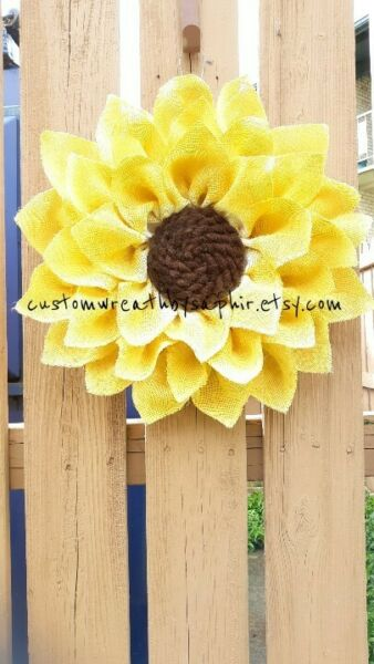 Burlap Sunflower Wreath Spring Summer Flower front Door Decor