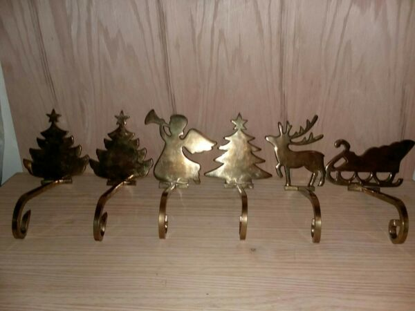 Lot 6 Christmas Brass Mantle Stocking Holders & Sleigh....free shipping .READ