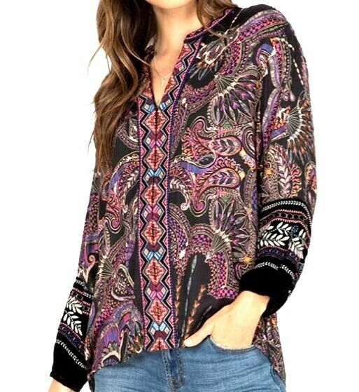 NWT JOHNNY WAS PARIS EFFORTLESS EMBROIDERED PEASANT BLOUSE TOP VELVET TRIM L XL