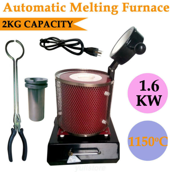 2KG Automatic Electric Melting Furnace 1600W Melt Gold Silver Copper Metal Melte $234.00