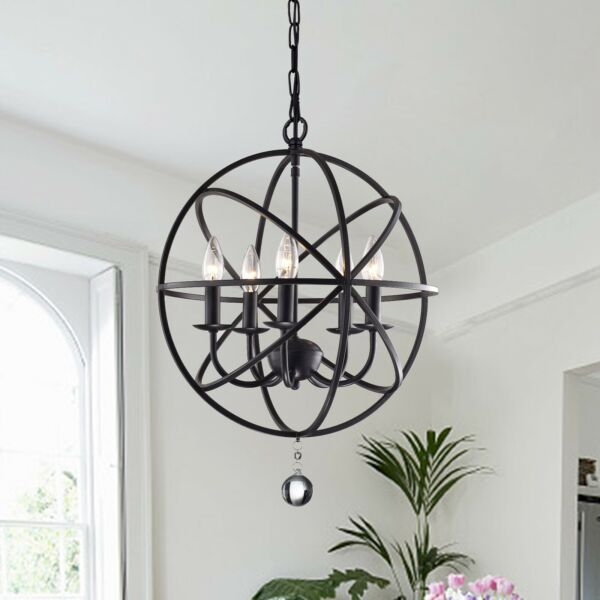 Aletta Metal and Crystal 5 light Foyer Pendant